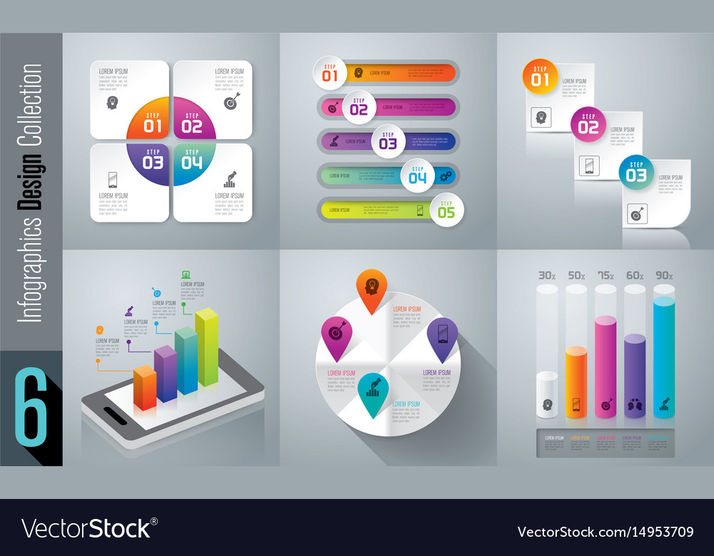 Infographics design set with 3 4 and 5 options