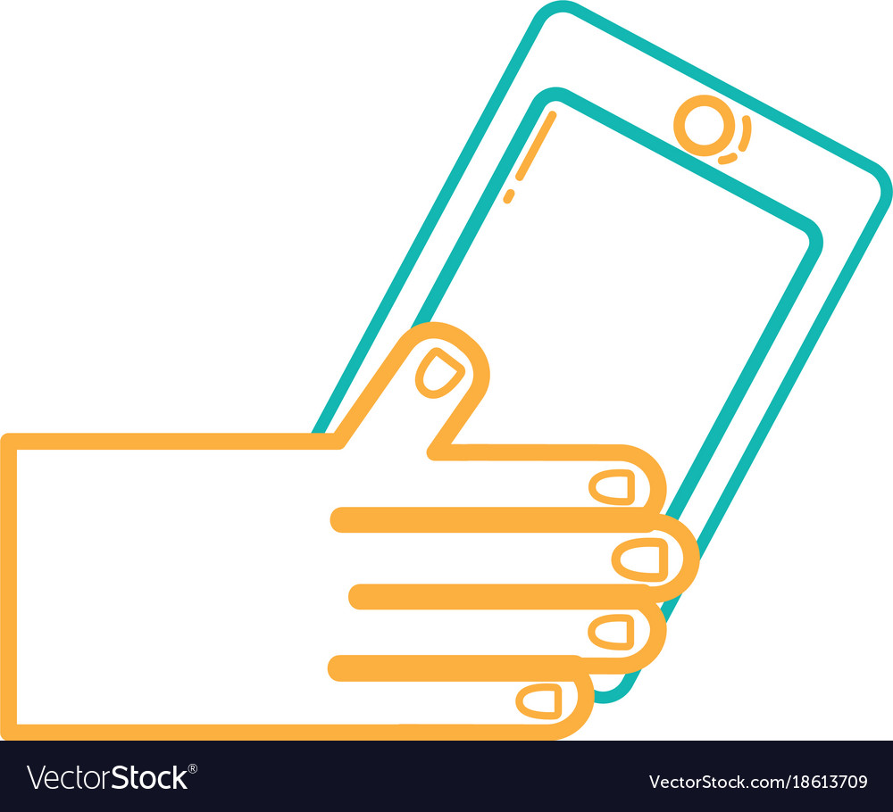 Line hand with smartphone technology object design