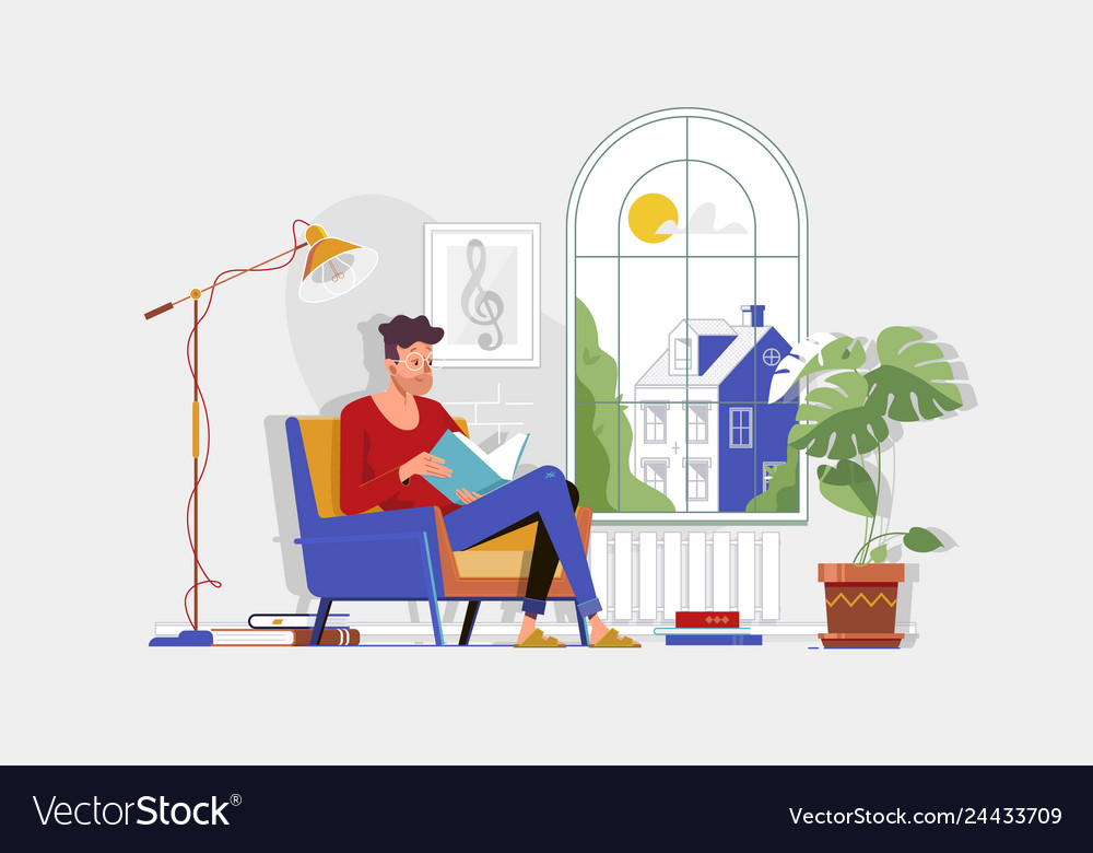 Man with glasses and home clothes reading book and