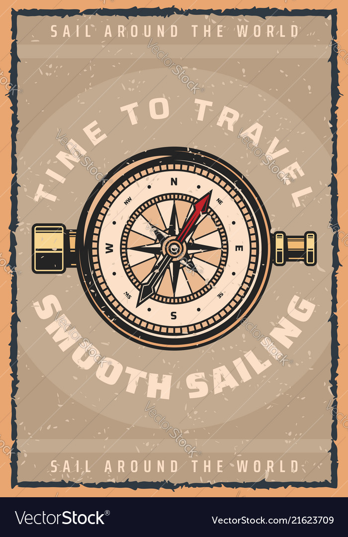 Marine travel compass retro poster