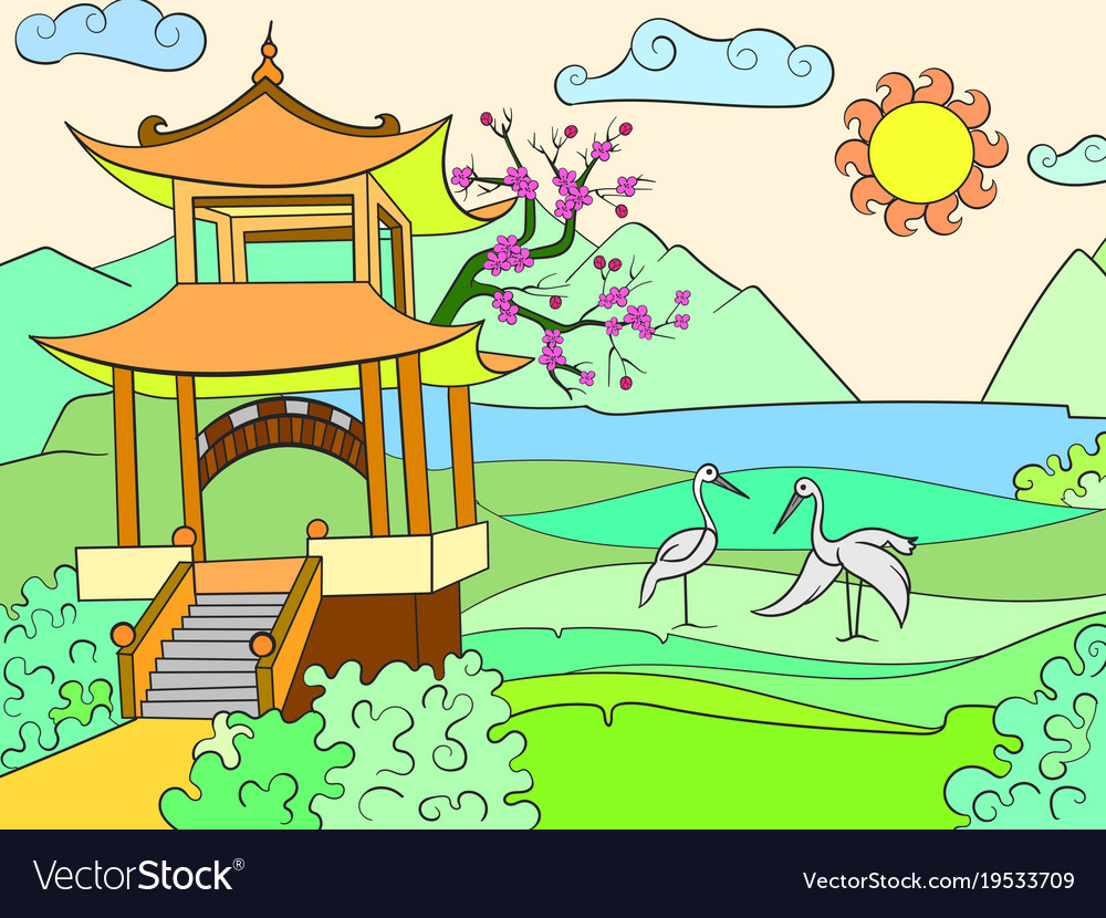 Nature Of Japan Color Book For Children Cartoon Vector Image