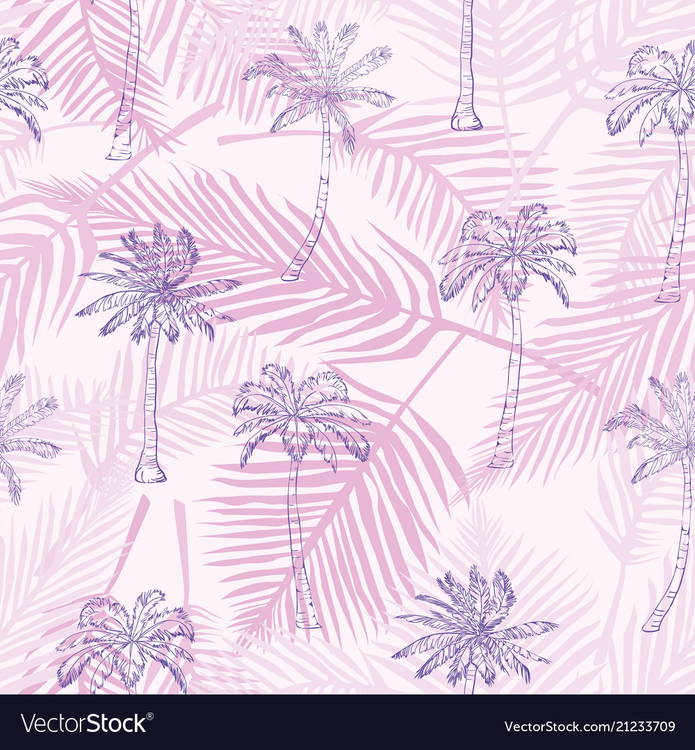 Palm tree pattern seamless hand drawn textures on vector image on  VectorStock