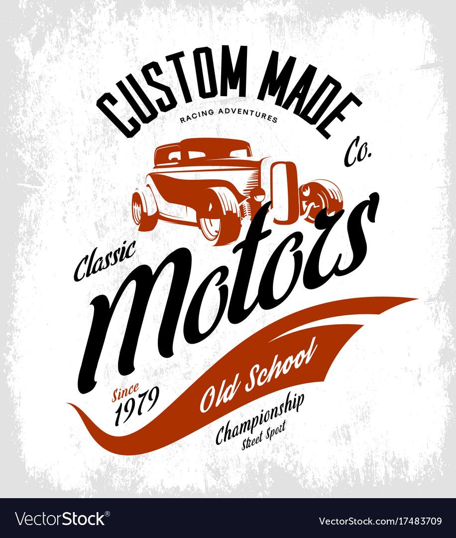 Vintage custom hot rod motors logo concept