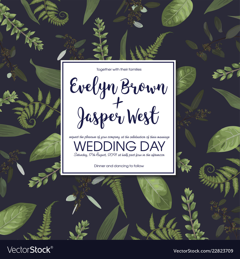 Wedding floral invitation invite card