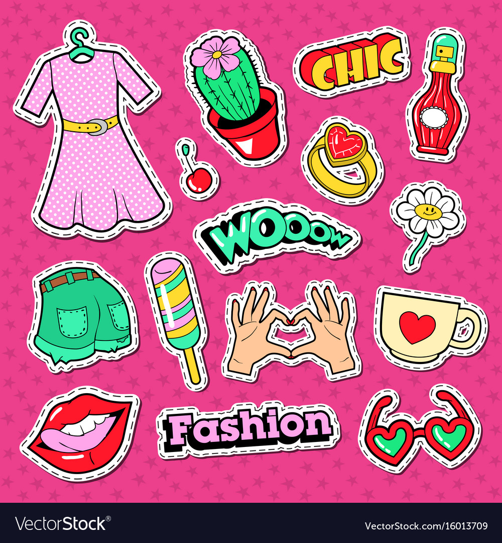 Woman doodle with clothes lips and beauty vector image