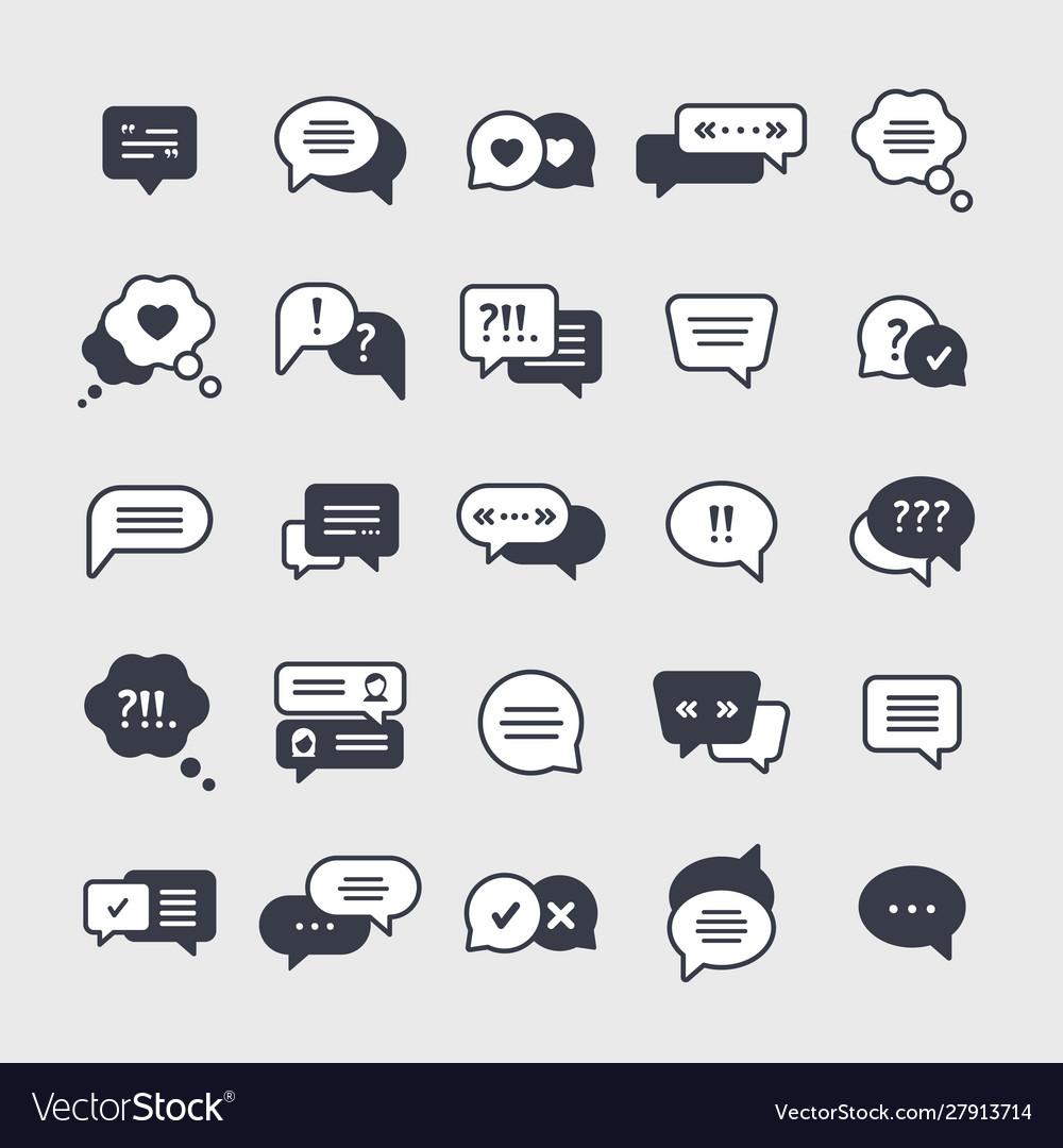 Chat symbols black glyph icons set
