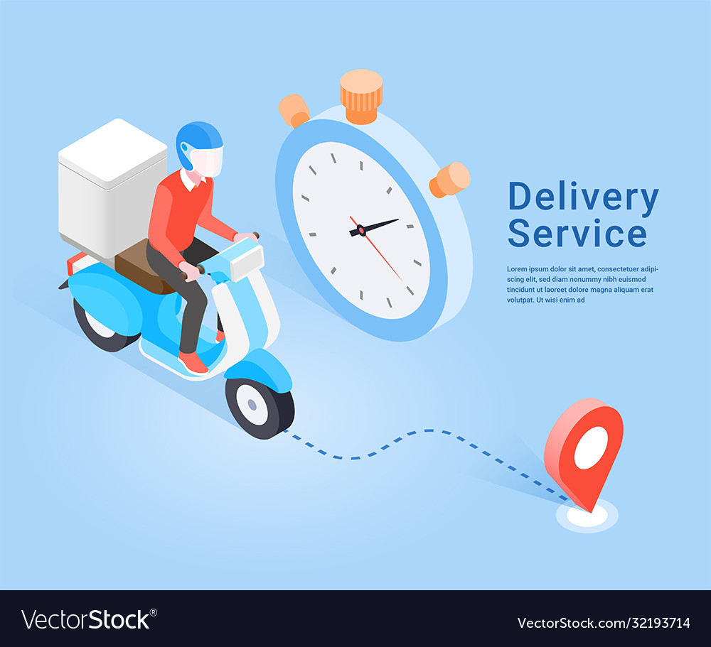 Delivery service scooter isometric concept