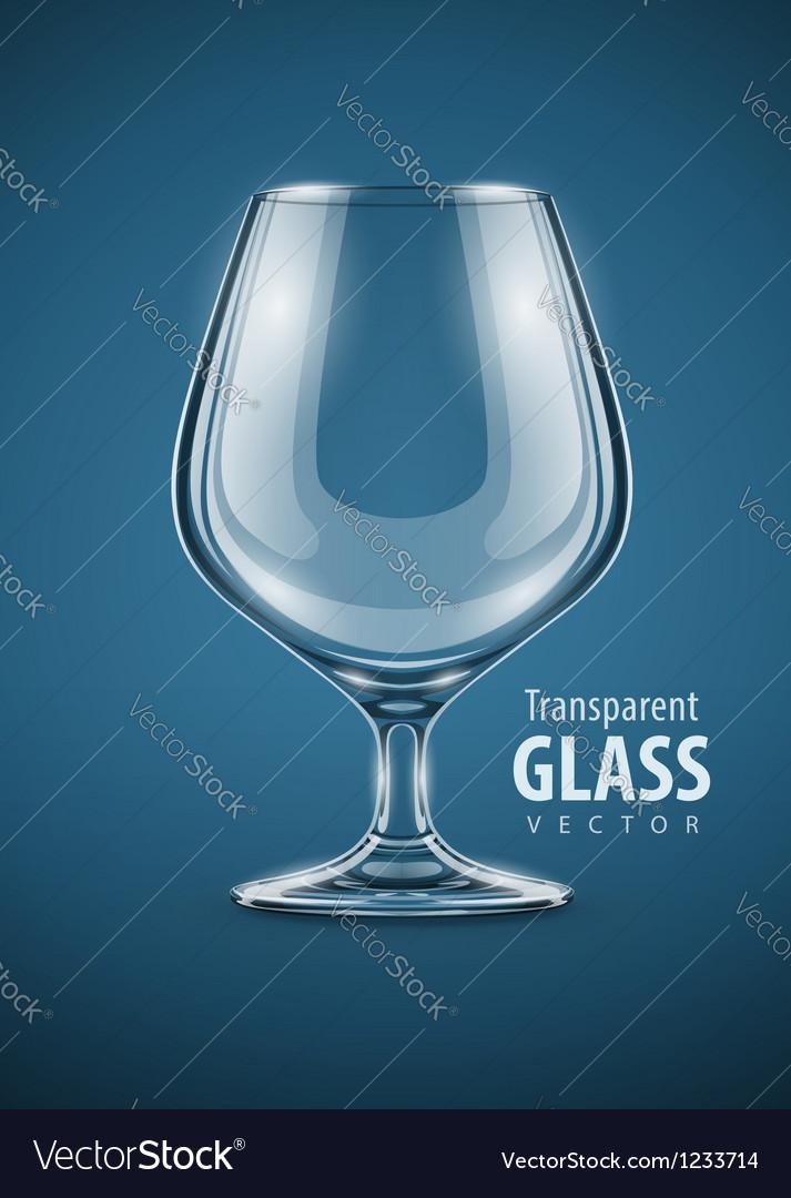 Glass goblet for brandy drinks vector image