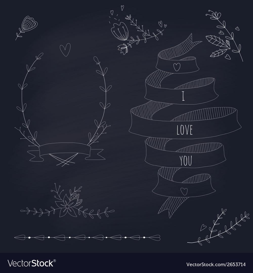 Hand drawn set wedding design elements