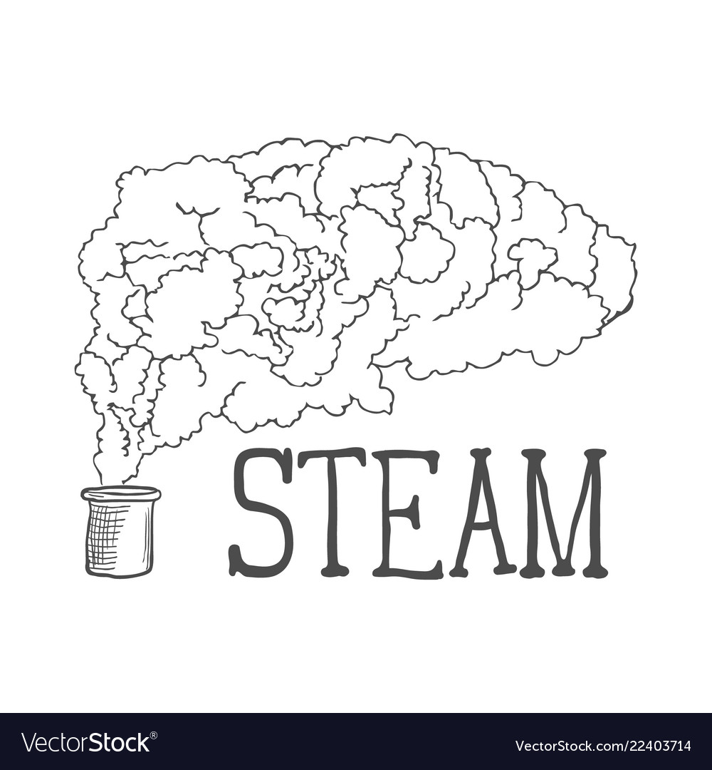 Hand drawn steam on white background