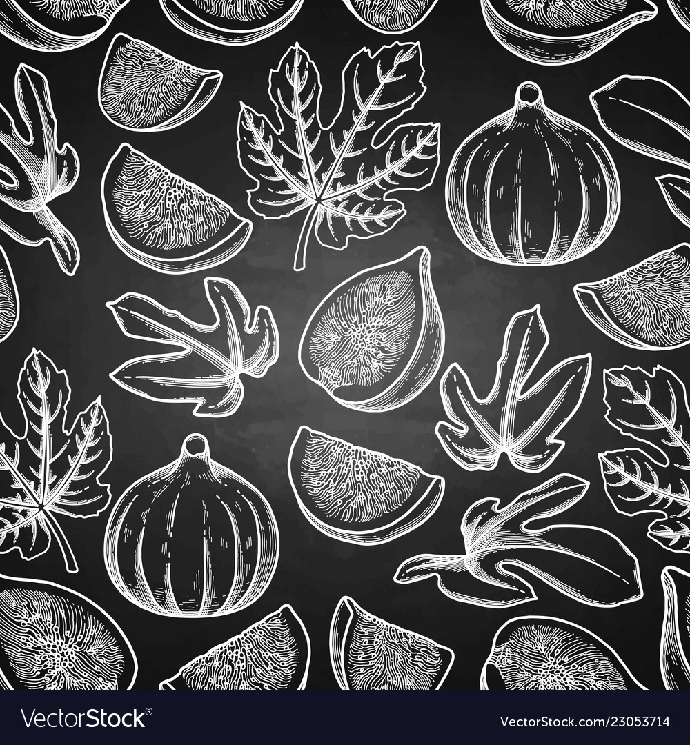 Seamless pattern of fig fruits and leaves