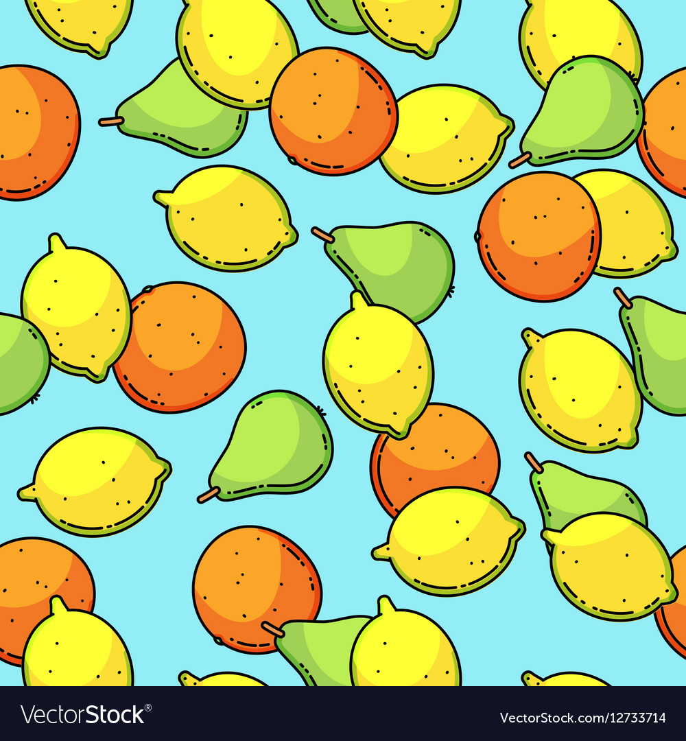 Seamless pattern with lemon pear and