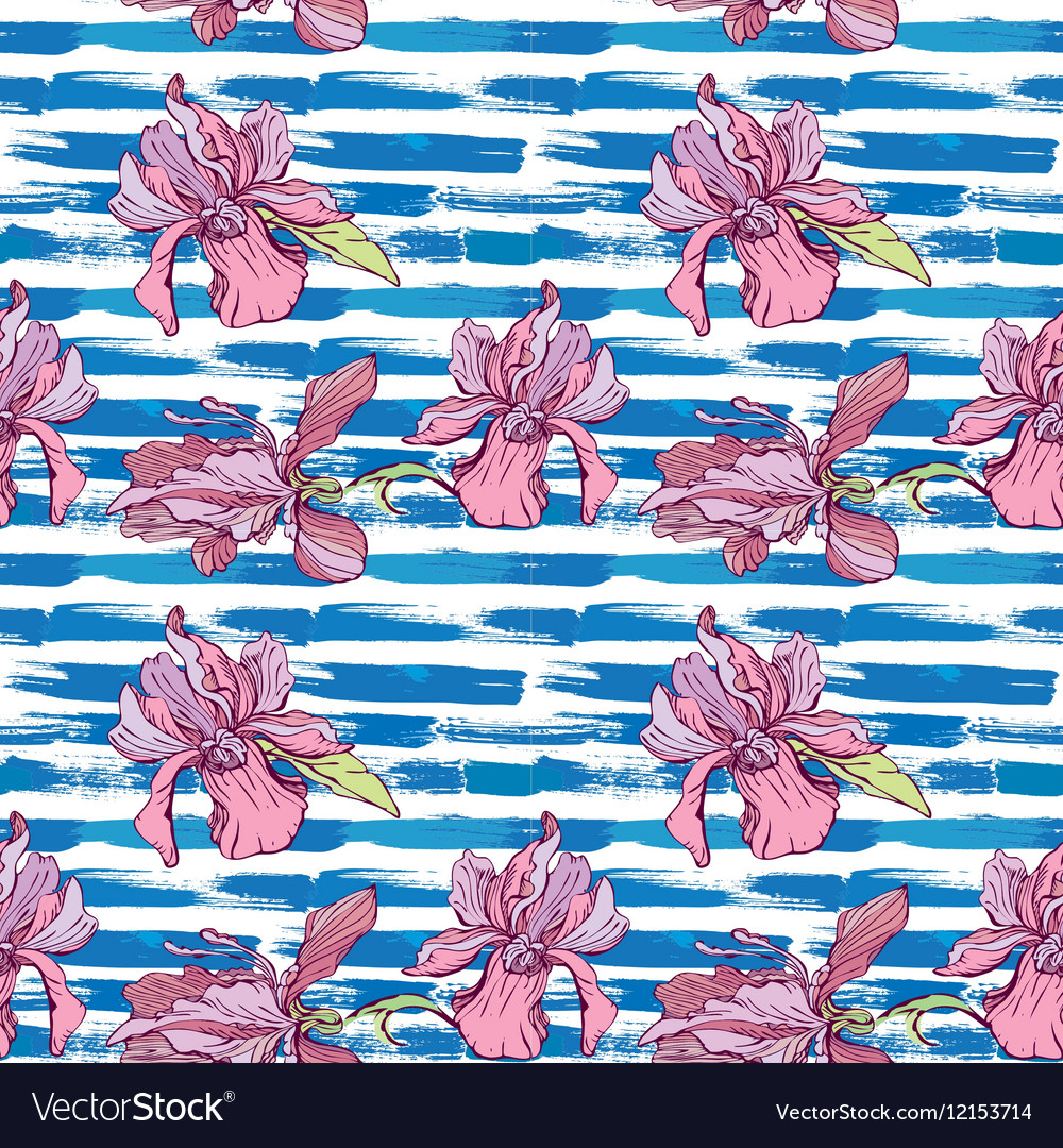 Seamless pattern with orchid flowers on the