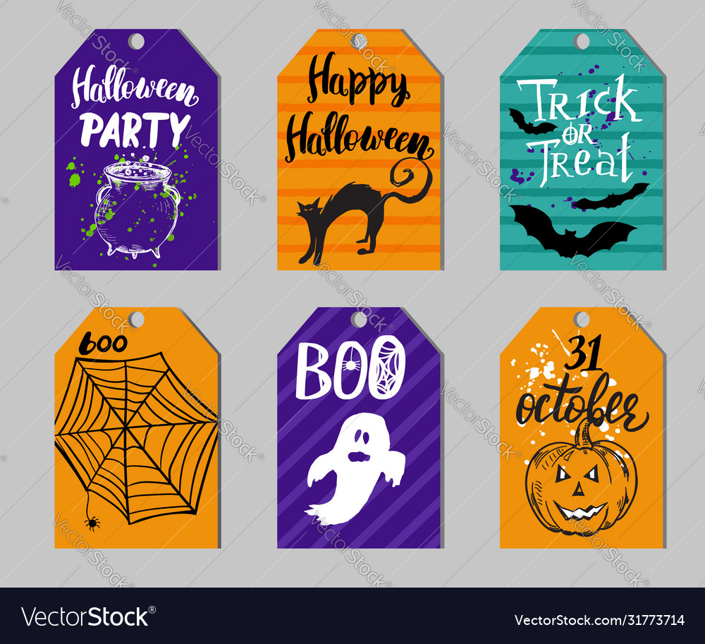 Set Gift Tags With Halloween Elements Royalty Free Vector