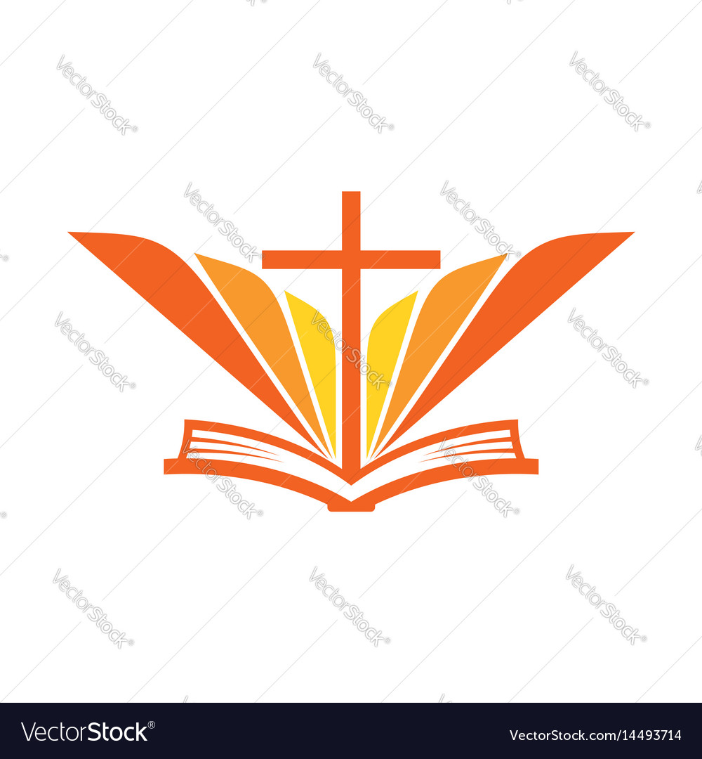 the open bible and the cross of jesus royalty free vector