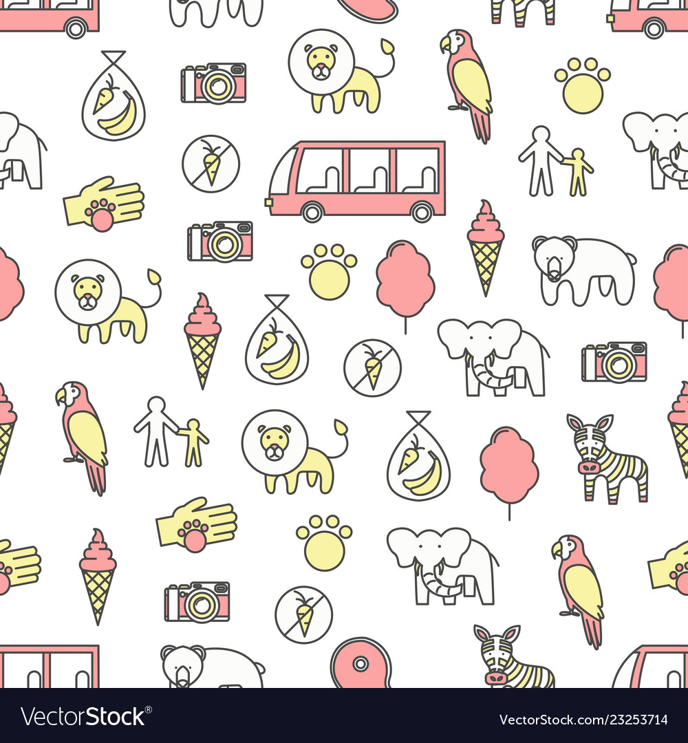 Thin line art zoo seamless pattern