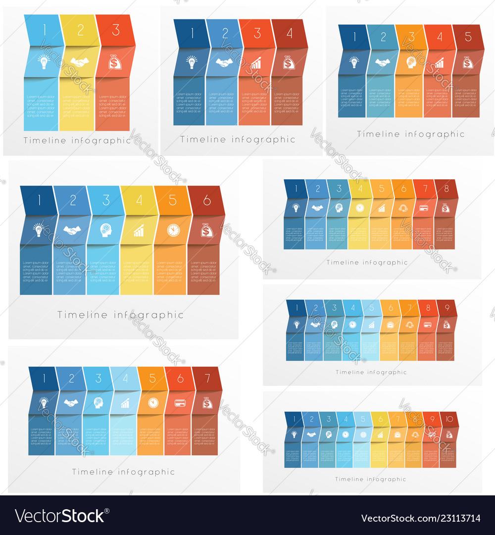 Timeline infographics set templates colorful