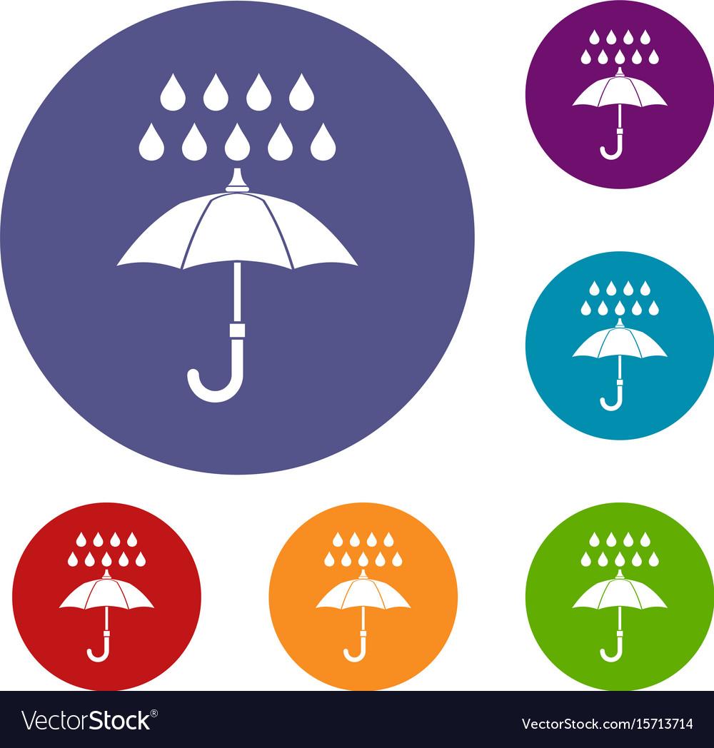 Umbrella and rain icons set