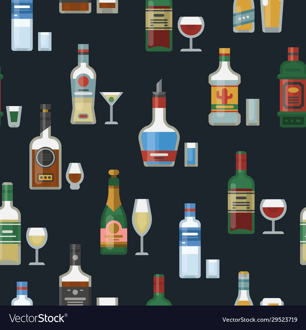 Alcohol bottles and glasses seamless