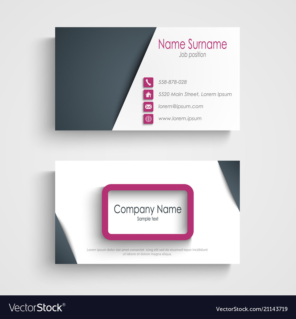Business card with abstract frame design element vector image colourmoves