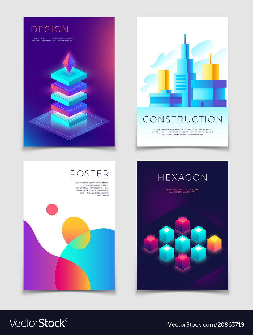 Business corporate layouts with typography and 3d