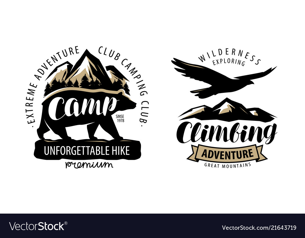 Camping climbing logo or label hike camp emblem