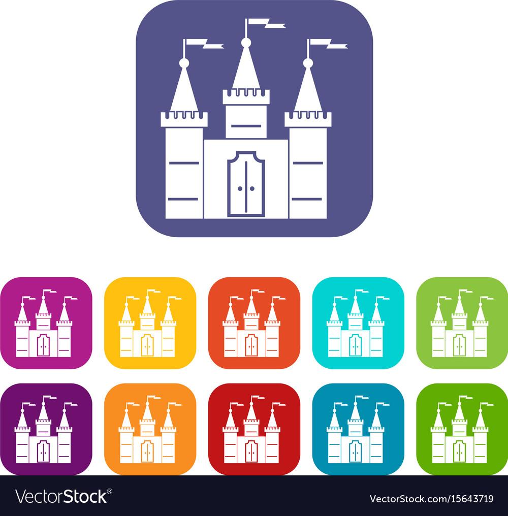 Castle icons set flat