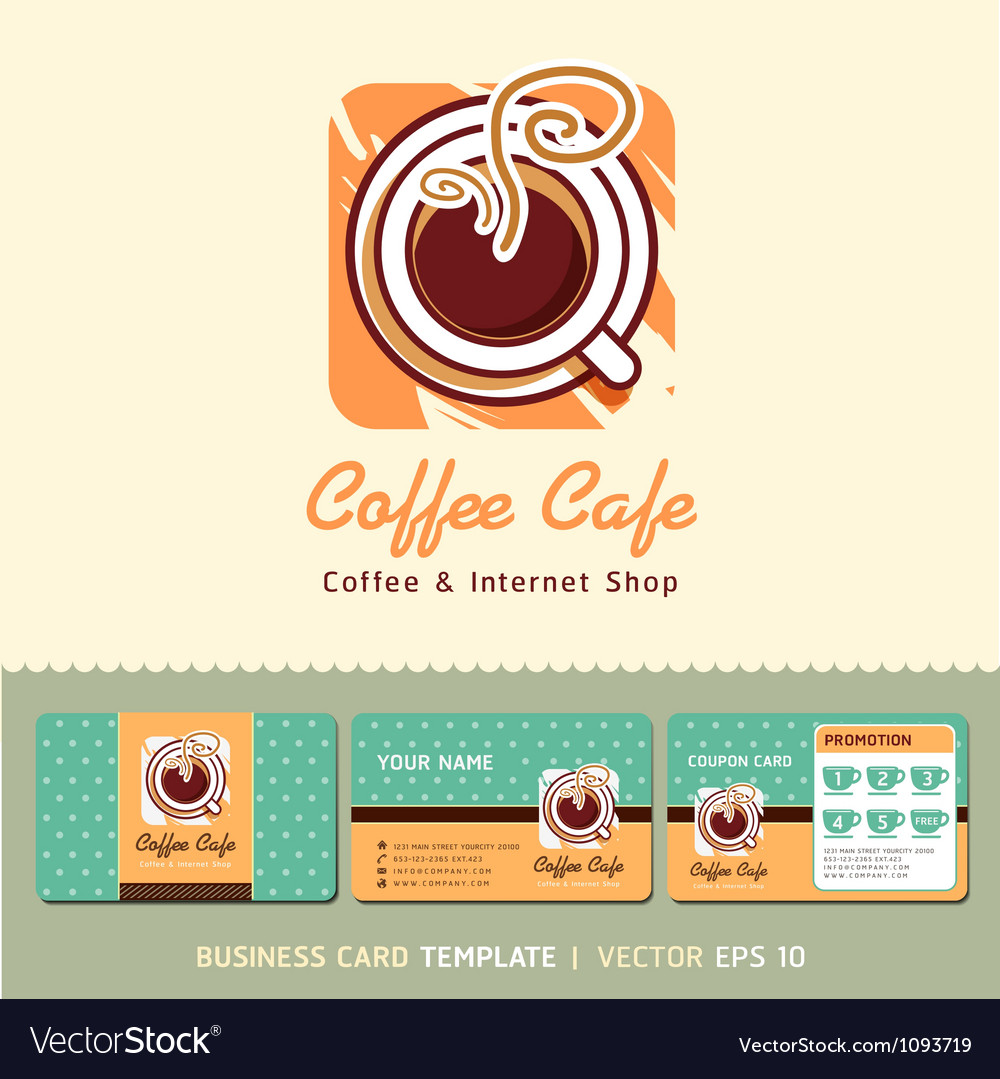 Coffee cafe icon logo and business card design vector image reheart Image collections