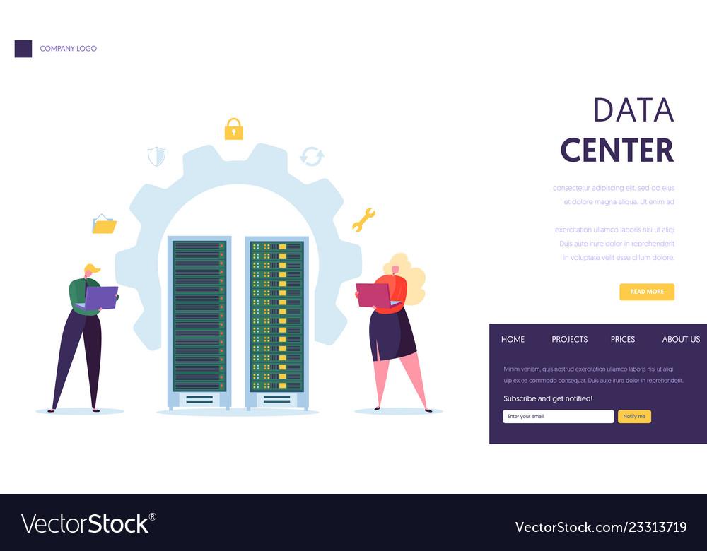 Data center server staff landing page business