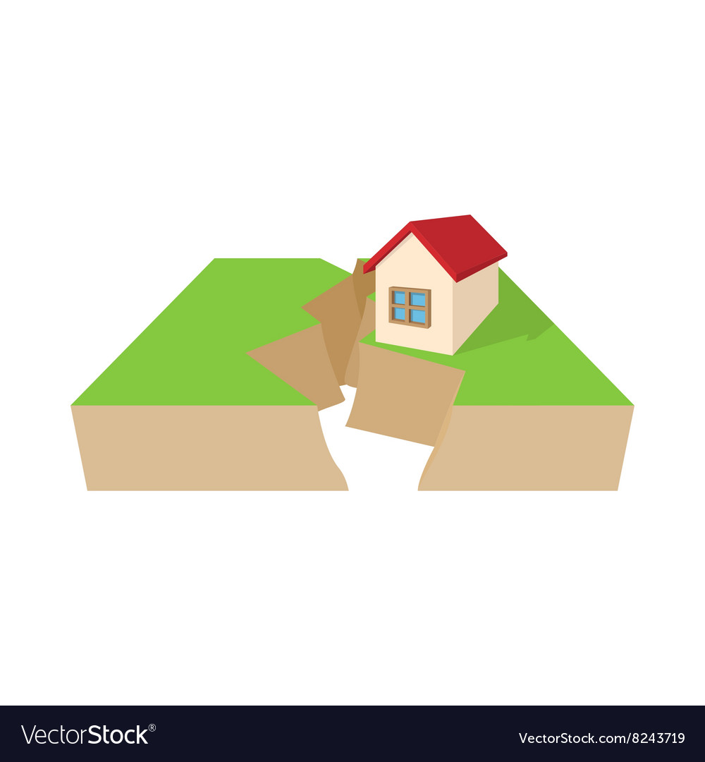 House After An Earthquake Icon Cartoon Style Vector Image