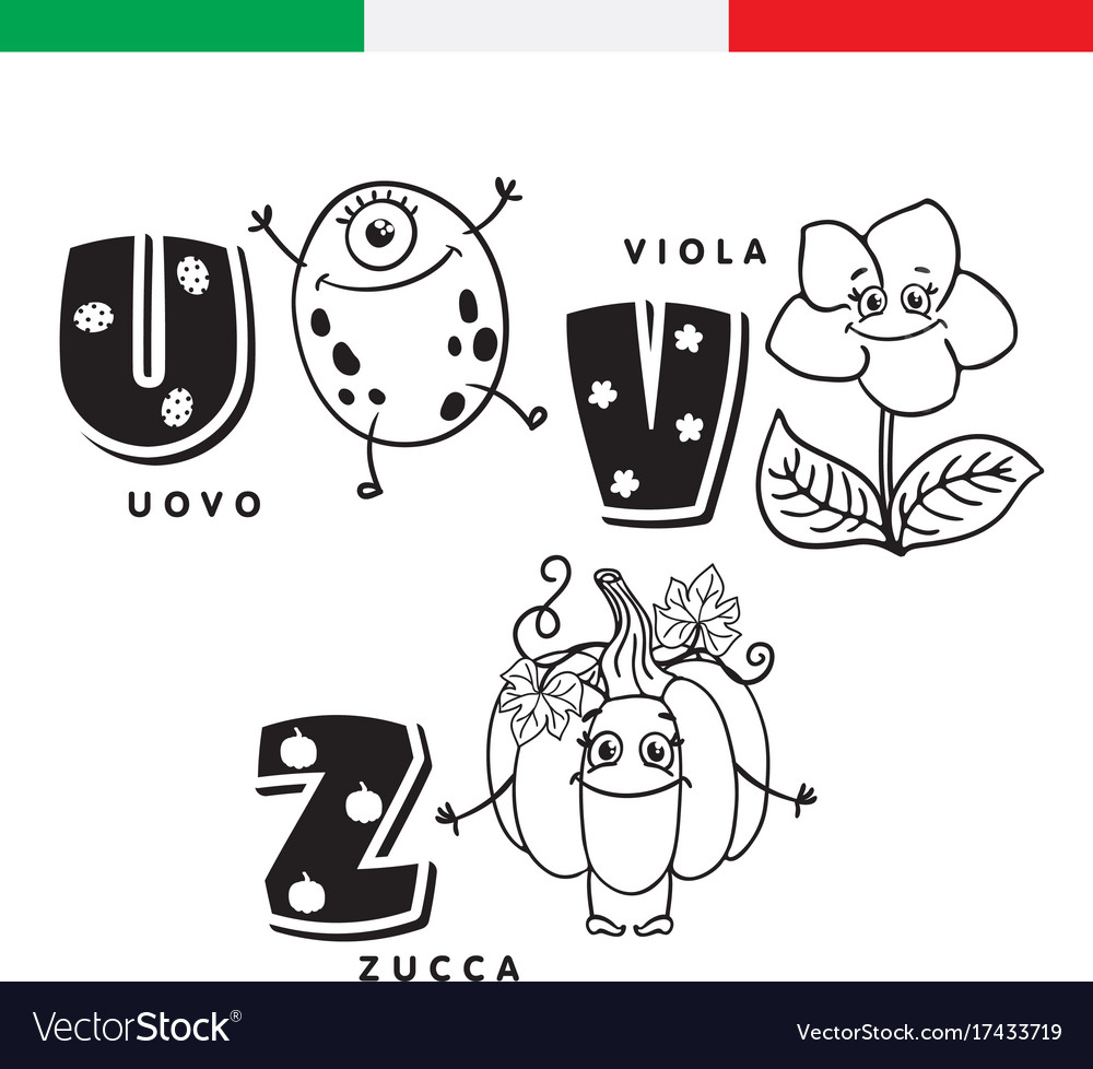 Italian alphabet egg violet pumpkin