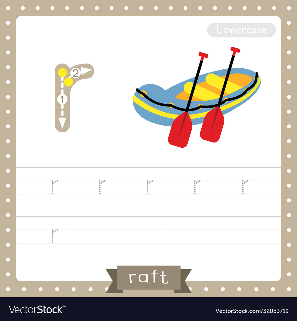 Letter R Lowercase Tracing Practice Worksheet Of Vector Image [ 1080 x 1000 Pixel ]