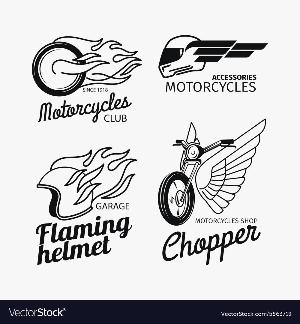 Motorcycle race logo set