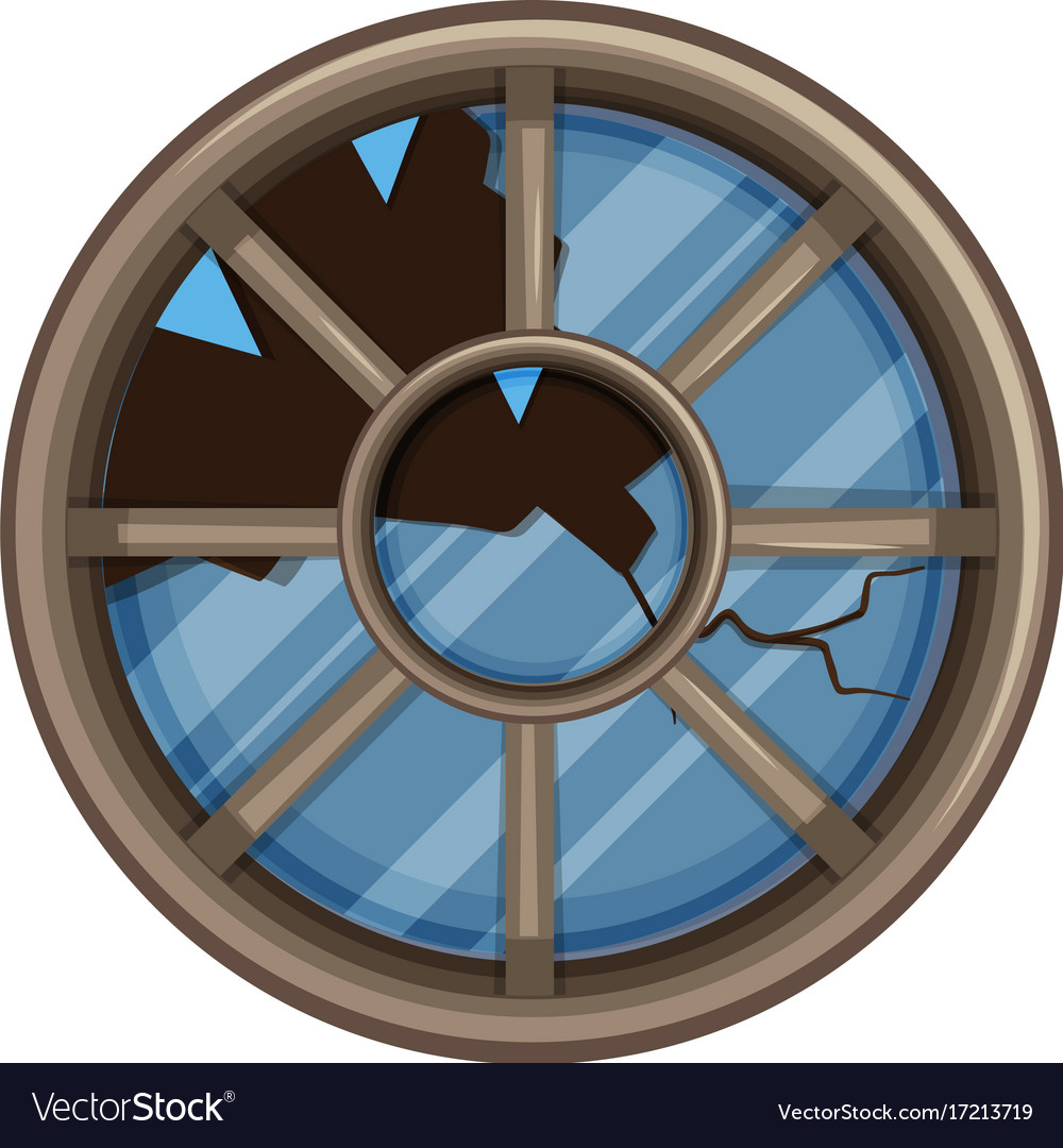 Round window with broken glass vector image