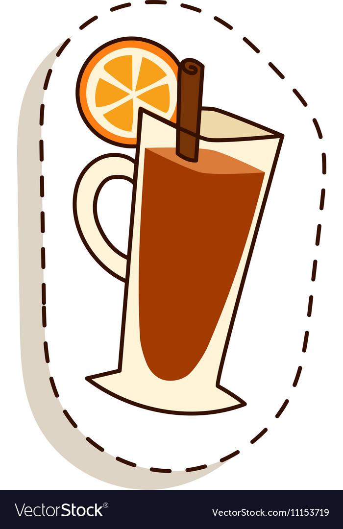 Tea cup with lemon slice cartoon