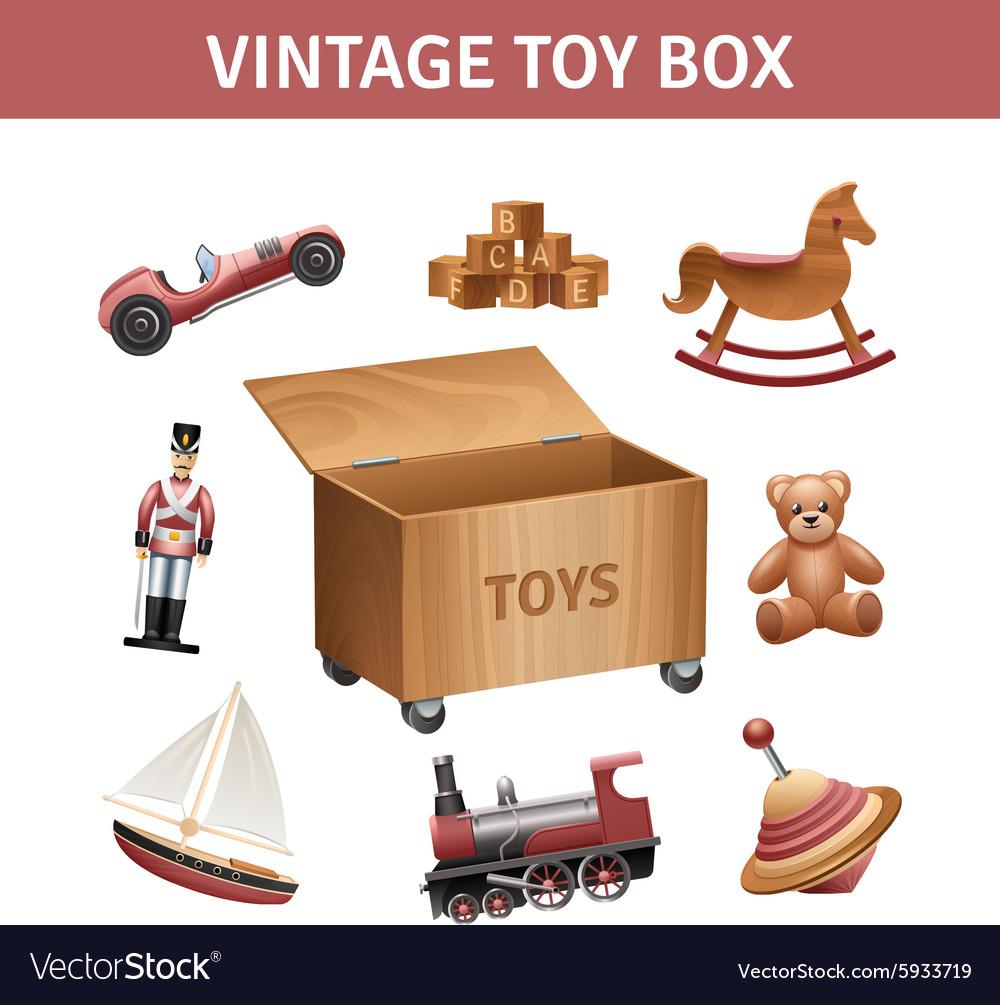 Vintage Toy Box Set vector image