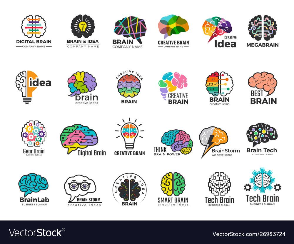 Brain logo genius and technology smart mind