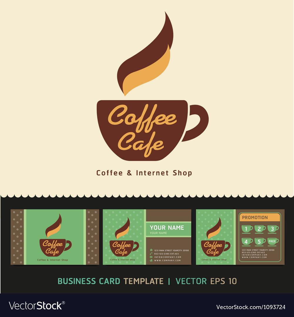 Coffee cafe icon logo and business card design vector image colourmoves