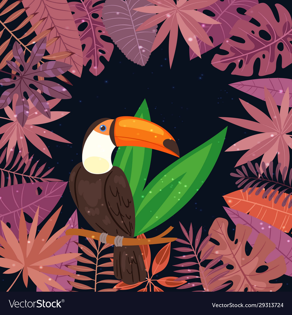 Exotic tropical toucan bird in jungle palm