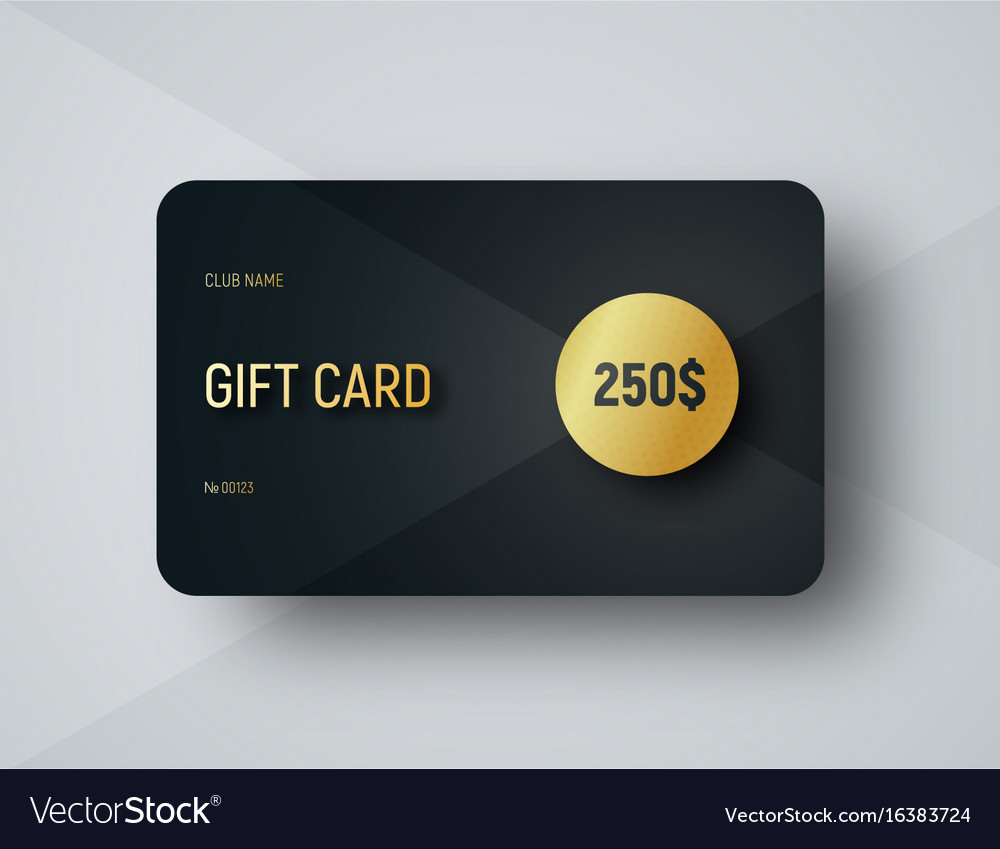 Gift card template with a gold circle for face vector image