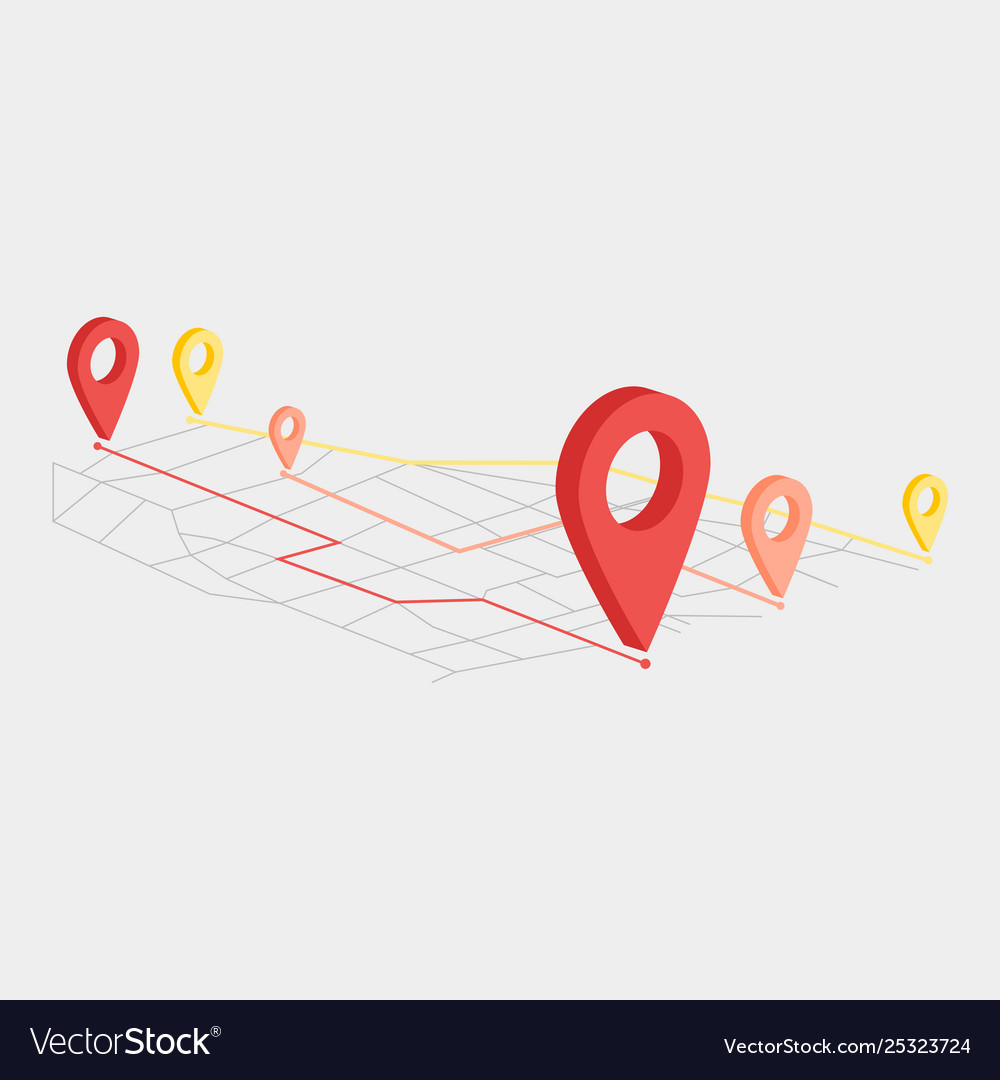 Move location icon in flat style pin gps on white