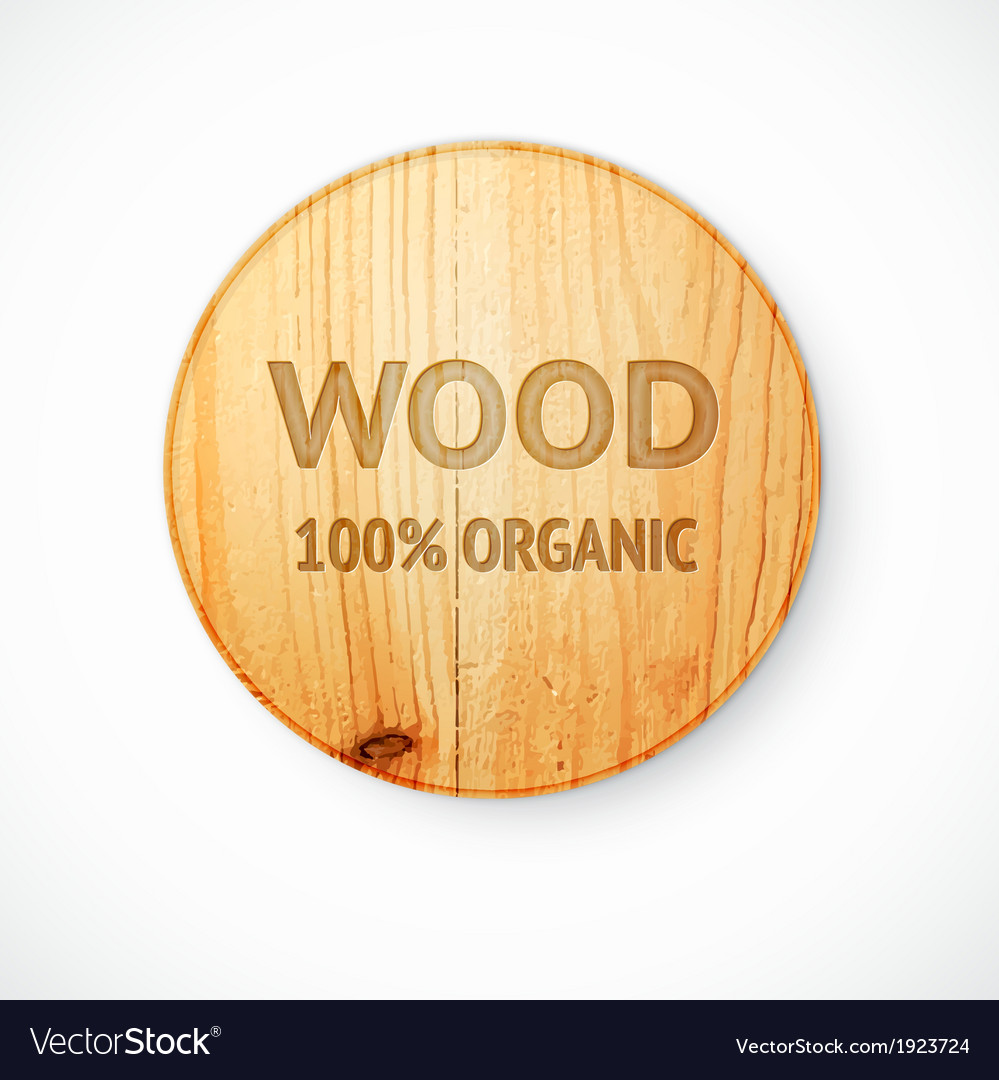 Radial shaped plate made of wood vector image