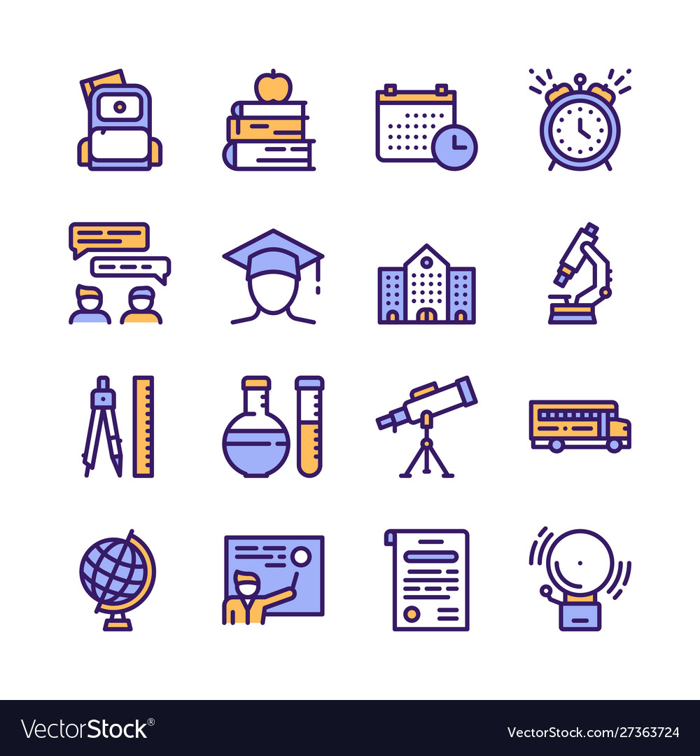 School color linear icons