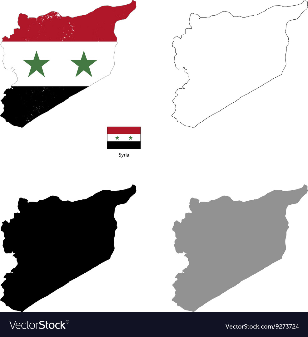 Syria country black silhouette and with flag