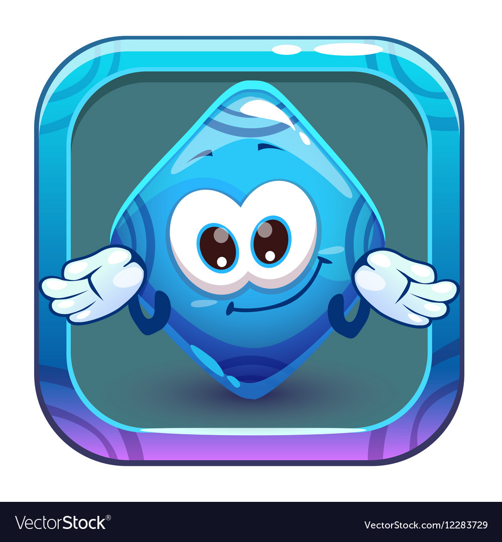 App icon with funny cute blue rhombus