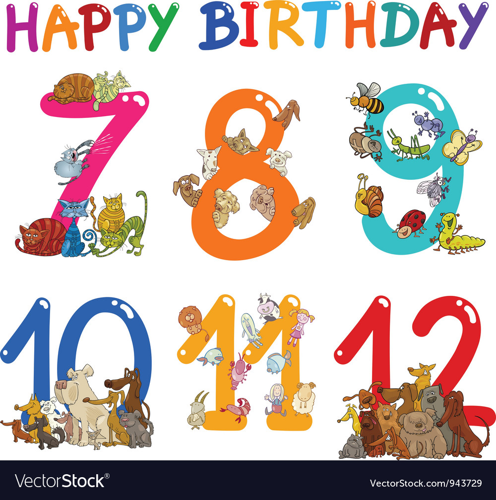 Birthday Anniversary cartoons set vector image