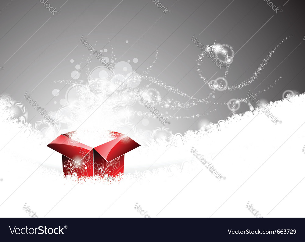 Christmas with gift box on snowflakes