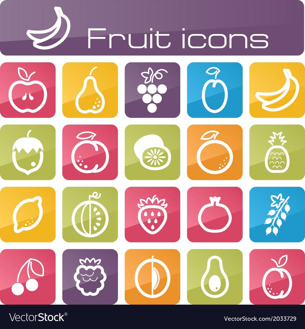 Icons set fruits