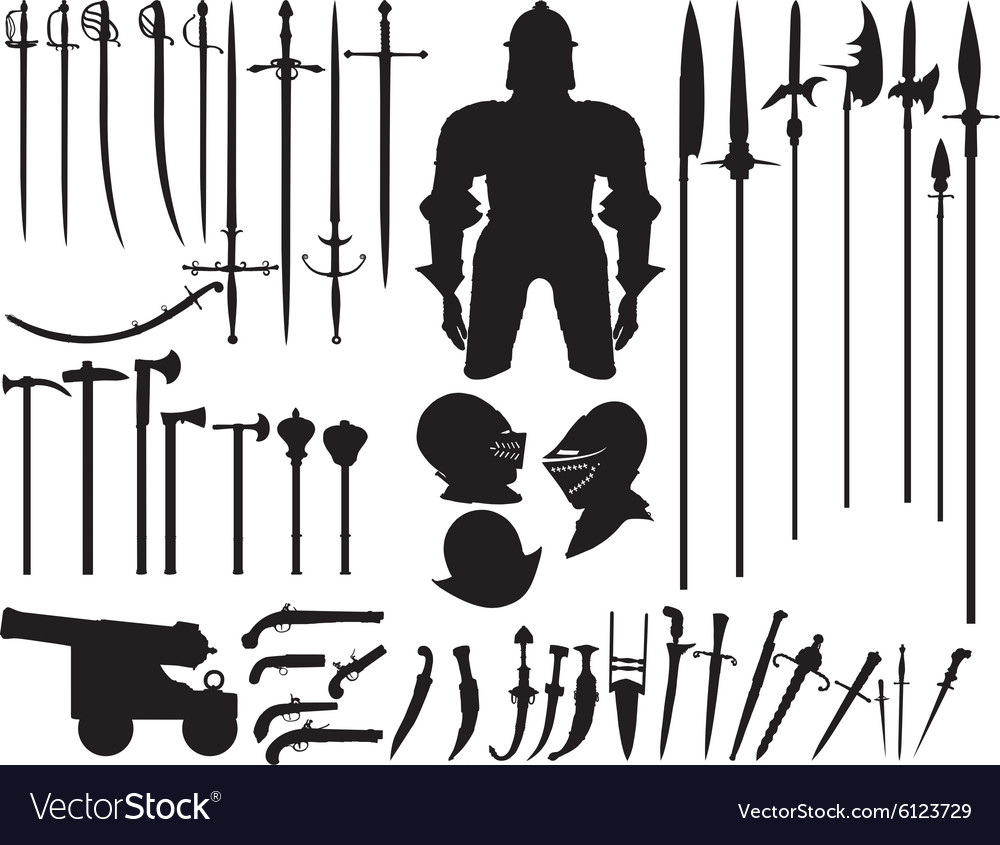 Large set of medieval weapons
