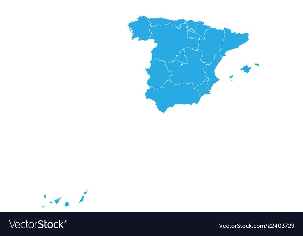 Map Of Spain Vector Free.Map Of Spain High Detailed Map Spain